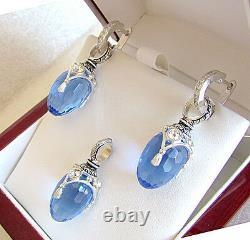 Sale! Superb Enamel Egg Pendant & Earrings Set Sterling Silver 925 Blue Topaz