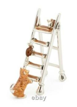 Saturno Sterling Silver and Enamel Ginger Cat and Mice on Ladder