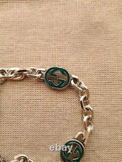 Silver Gucci Bracelet with enamelled Interlocking G
