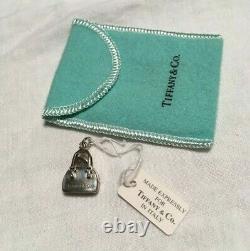 Silver Tiffany Purse Charm w Blue Enamel Heart. Vintage. Rare