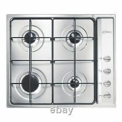 Smeg S64S Cucina 60cm Stainless Steel 4 Burner Gas Hob