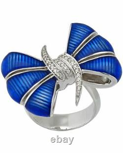 Stephen Webster Forget Me Knot silver diamond & blue enamel Bow ring size 7