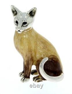 Sterling Silver & Enamel Siamese Cat by Saturno sculpture figurine Feline