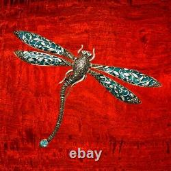 Sterling Silver Movable Wings Dragonfly Pin Marcasite, Green Enamel & Blue Topaz