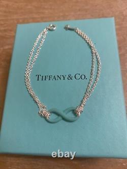 Sterling Silver Tiffany&Co Blue Enamel Infinity Bracelet Size Medium