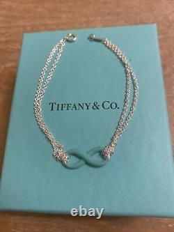 Sterling Silver Tiffany&Co Blue Enamel Infinity Bracelet Size Medium with Box