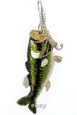 Sterling silver enamel bass fish charm pendant