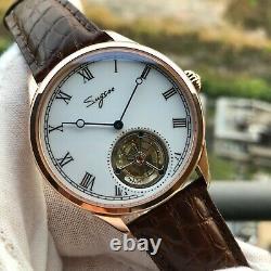 Sugess Tourbillon Seagull ST8230 Hand Winding Mechanical Watch Enamel Dial
