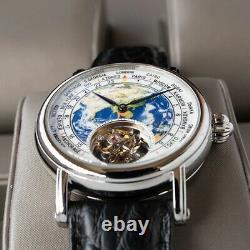 Sugess Watch Earth Art Enamel Dial Seagull ST8000 Movement Genuine Tourbillon