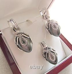Superb Egg Pendant & Earrings Set Made Of Solid Sterling Silver 925 Black Pearl