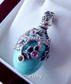 Superb Russian Egg Pendant Sterling Silver 925 Enamel Genuine Turquoise