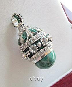 Superb Russian Made Of Solid Sterling Silver 925 Pendant Genuine Malachite