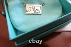 TIFFANY & CO STERLING ENAMEL GREETINGS FROM MIAMI FLORIDA CHARM PENDANT With ETC