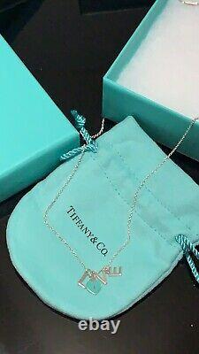 TIFFANY & CO Silver Blue Enamel Love Pendant Dangle Charms Necklace NEW