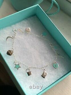 TIFFANY & CO Sterling Silver Dangle Blue Enamel Mini Charm Bracelet RETIRED NEW
