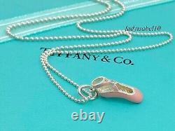 Tiffany & Co 16 Beaded Necklace Pink Enamel Diamond Ballet Shoe Charm Silver 2T