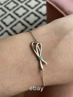 Tiffany & Co. 925 Silver Blue Enamel Bow Knot Bracelet