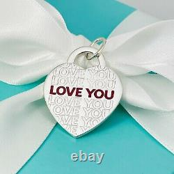 Tiffany & Co I LOVE YOU Large Red Enamel Sterling Silver Heart Tag Pendant Charm