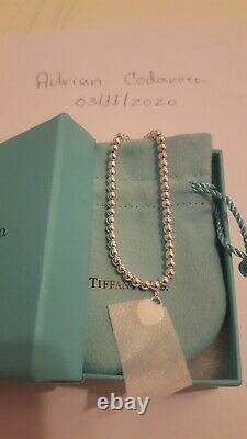 Tiffany&Co. Mini Blue Enamel / Silver Heart Tag Bracelet T&Co