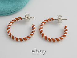 Tiffany & Co NEW MINT Silver Picasso Palina Orange Enamel Stripe Hoop Earrings