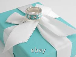 Tiffany & Co New Silver Daisy Blue Enamel Ring Size 4