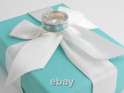 Tiffany & Co New Silver Daisy Blue Enamel Ring Size 5 Packaging Box Pouch Card