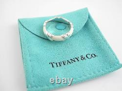 Tiffany & Co RARE Silver MINT Thick Wide White Enamel Signature Ring Size 9.5