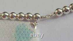 Tiffany&Co. RTT T&Co. Mini Blue Enamel Silver Heart Tag Bracelet