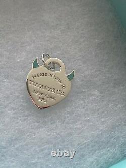 Tiffany & Co. Return to Tiffany Blue Enamel Devil Heart Tag Pendant Charm Silver