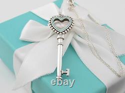 Tiffany Co Silver 925 Large Blue Enamel Heart Bead Key Pendant Charm