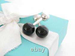 Tiffany & Co Silver Black Onyx Gemstone Barbell Cuff Link Cufflinks Links