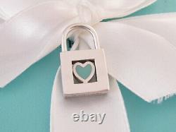 Tiffany & Co Silver Blue Enamel Heart Padlock Charm Pendant