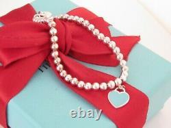Tiffany & Co Silver Blue Enamel Heart Return To 6.75 Wrist Bracelet