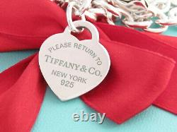 Tiffany & Co Silver Blue Enamel Lettering Return To Heart Tag Necklace 18