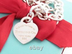 Tiffany & Co Silver Blue Enamel Return To Heart Tag Necklace 16
