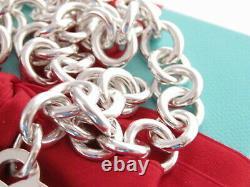 Tiffany & Co Silver Blue Enamel Return To Heart Tag Necklace 18