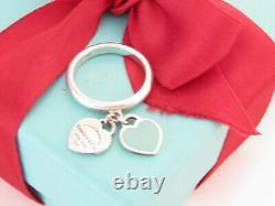 Tiffany & Co. Silver Blue Enamel Return To Tiffany Double Heart Ring Size 5