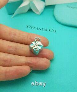 Tiffany & Co. Silver Blue enamel Present Box with Bow Germany Charm Pendant ONLY