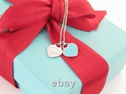 Tiffany & Co Silver Double Return To Heart Blue Enamel Necklace