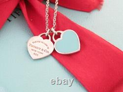 Tiffany & Co Silver Double Return To Heart Blue Enamel Necklace 18 Box