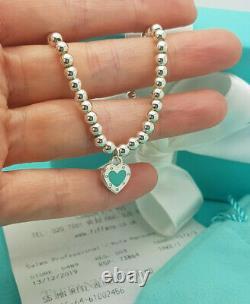 Tiffany & Co. Silver Enamel LOVE Heart Tag 4mm Bead 7 Bracelet, RRP £260
