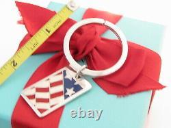 Tiffany & Co Silver Flag American Blue Red Enamel Key Keychain Key Chain Ring