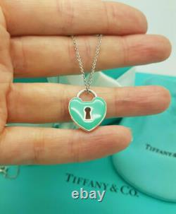 Tiffany & Co. Silver LARGE Rare Enamel Heart Keyhole Pendant Charm 18 Necklace