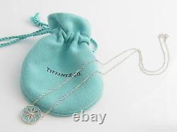 Tiffany & Co Silver MINT NEW RARE Blue Daisy Flower Enamel Pendant Necklace