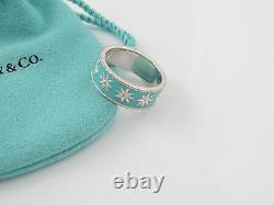 Tiffany & Co Silver MINT NEW RARE Blue Enamel Daisy Ring Size 5
