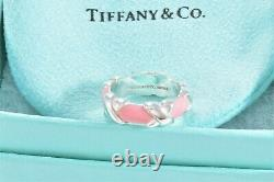 Tiffany & Co Silver Pink Enamel Signature X Stack Band Ring Size 5 + Pouch RARE
