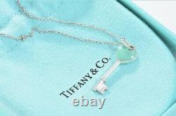 Tiffany & Co Sterling Silver Blue Enamel Heart Key Pendant 16 Necklace +Pouch