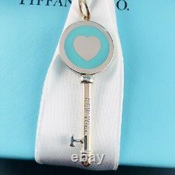 Tiffany & Co Sterling Silver & Blue Enamel Heart Key Pendant/charm