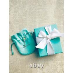 Tiffany & Co Sterling Silver Blue Enamel Key Heart Charm Pendant 1.65in RARE