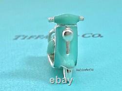 Tiffany & Co Sterling Silver Blue Enamel Scooter Charm Pendant Gift w box 21225E